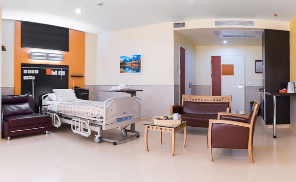 Patient room at Moheb Mehr Hospital